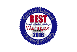 Recognized as top-five value choice in 2016 Washington Monthly college rankings.